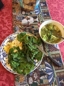 image of curried pecan spinach salad and broccoli soup