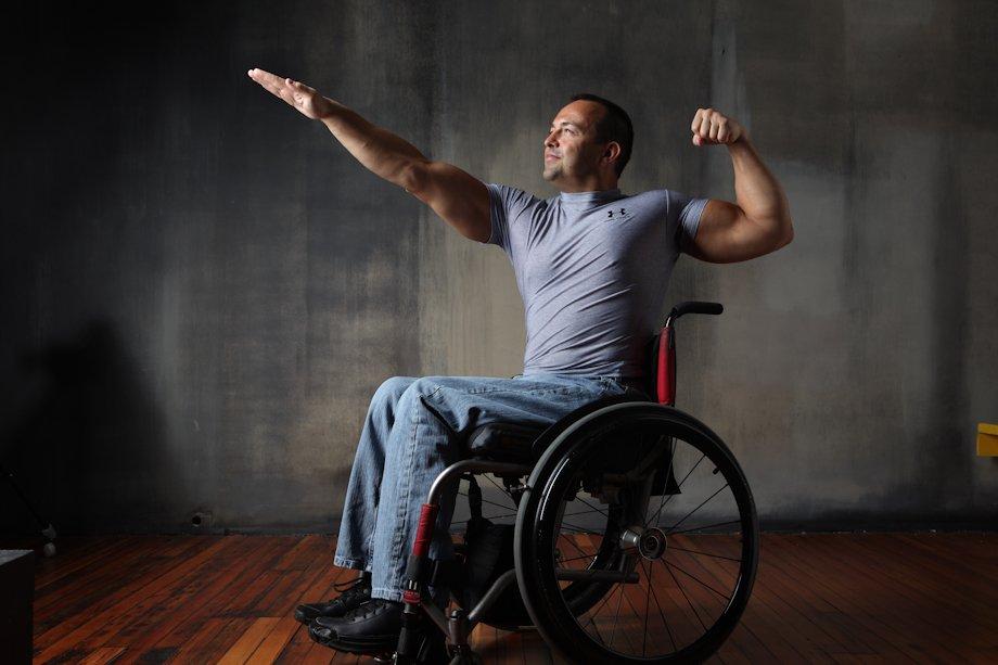 Image of Attila in his wheel chair