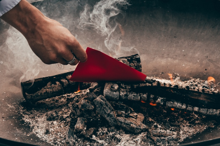 photo of burning paper