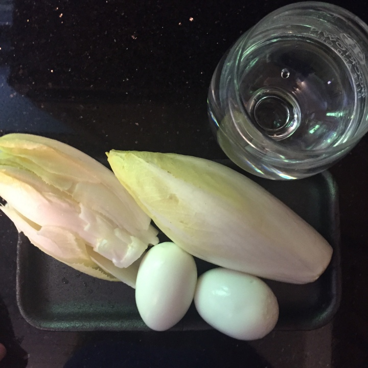Belgium Endive, hard boiled eggs and water