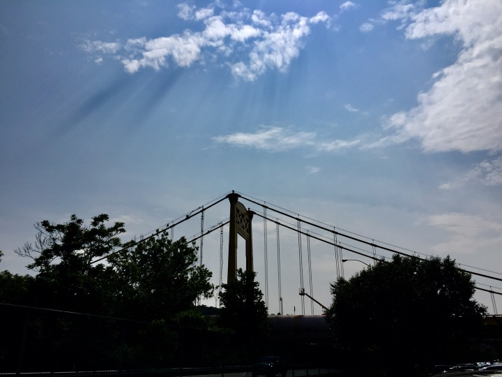 Bridge and blue sky with some clouds