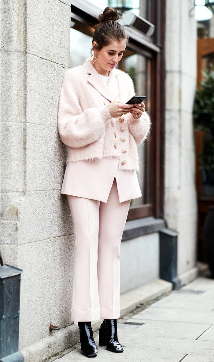 Woman in pink pantsuit