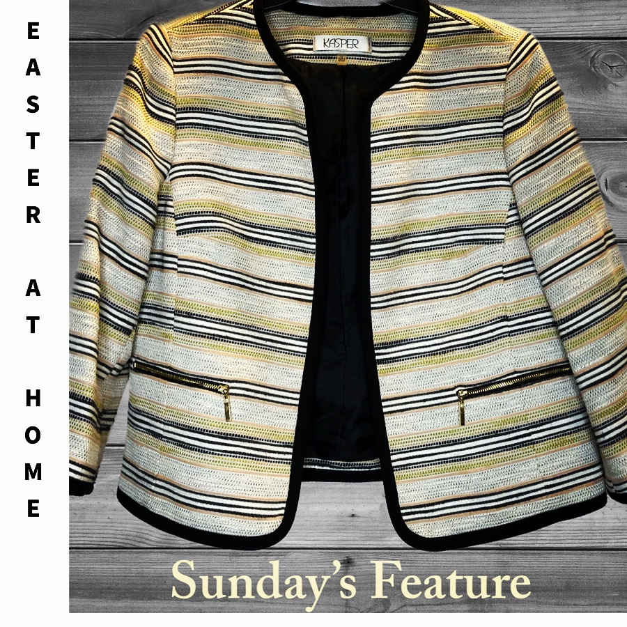 Kasper striped open front women's blazer in greens and yellows