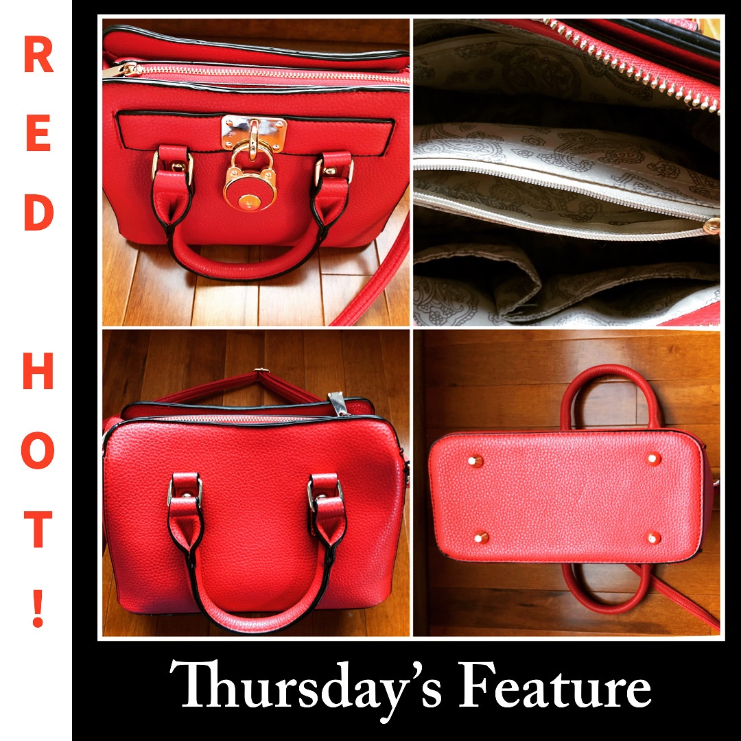 Red vegan leather satchel with handles and shoulder strap