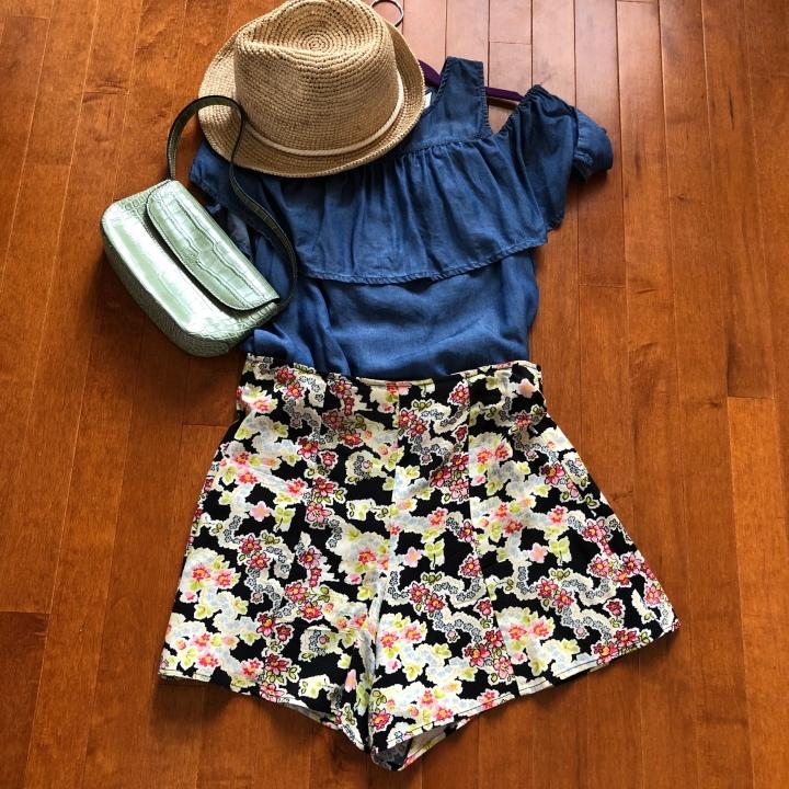 denim shirt and floral bongo shorts