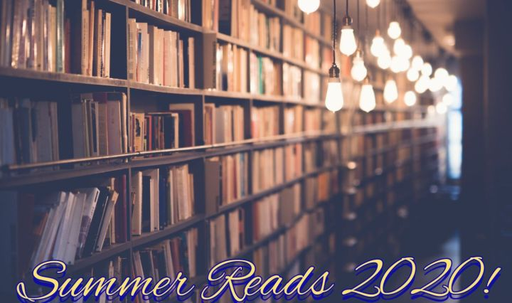 Library shelves with summer reads 2020 text overlay